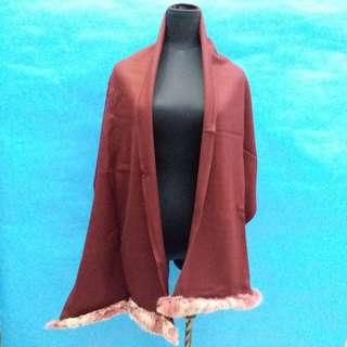 全新潮款Wool 酒紅色高貴Fur披肩,返工,去拜年一流,減價啦