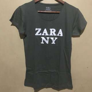 Zara Army Green Basic Tee