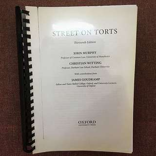 Street on Torts Tort Law Textbook By Murphy