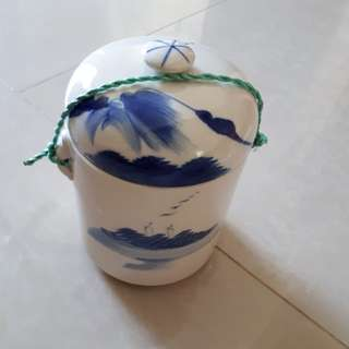 Old Chinese blue and white porcelain jar