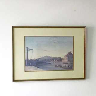 Old Singapore art picture in wooden frame from 70s