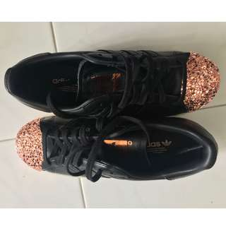 Adidas Originals Superstar Rose-Gold Sneakers in Black