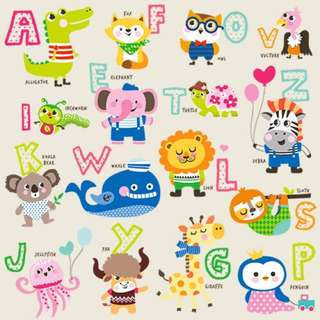 Little Animal Alphabet Wall Sticker