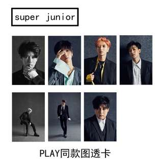 SJ SUPER JUNIOR PLAY UNOFFICIAL TRANSPARENT CARDS