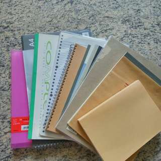 Random paper sets including tracing paper, blank notes, water colouring sketch book, daiso notebook