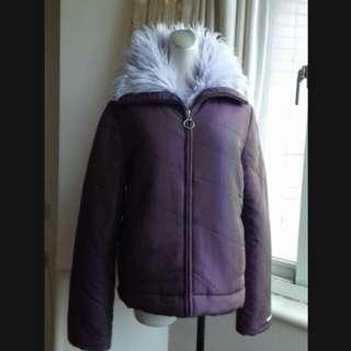義大利品牌MISS SIXTY 粉紫長絨毛 防風舖棉厚外套