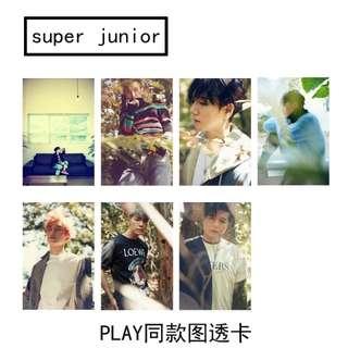 SJ SUPER JUNIOR UNOFFICIAL TRANSPARENT CARDS