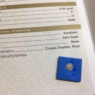 GIA 鑽石 0.50卡 F 色 I1