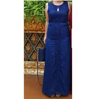 REPRICED!!!Long Lace  Navy Blue Formal Dress