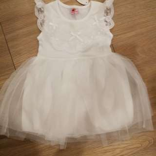 Kid white flower girl dress