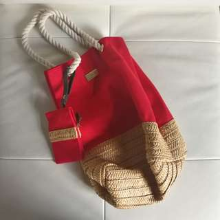 Decleor Paris red beach straw tote