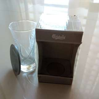 Carlsberg glass with lid
