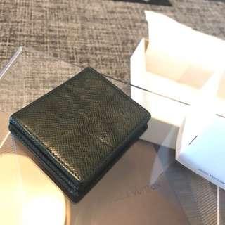 LOUIS VUITTON Taiga Leather Green Coin Purse Porto Monnaie Boite