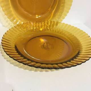 琥珀玻璃盤 早期 古董