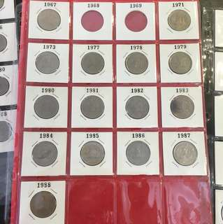 Malaysia 1967 to 1988 Parliament House 1 sen to $1 Coin