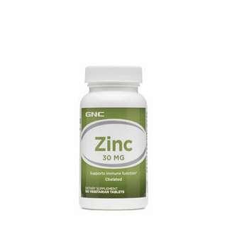 脱髮,生仔補品 GNC 鋅 Zinc 30 mg  (100粒)  維他命 增強免疫力