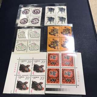 中國郵票,一輪二輪生肖,四方連,龍蛇兔牛豬,全新。共售: