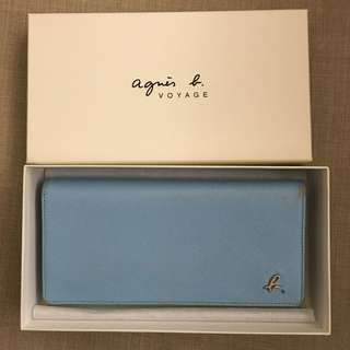 Agnes b Voyage light blue real leather long wallet