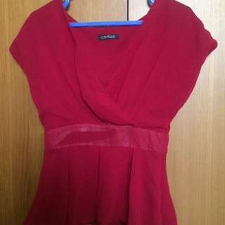 Blouse red & tosca