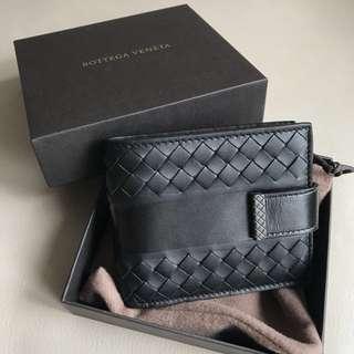 Bottega Veneta Bv男裝黑色織皮銀包