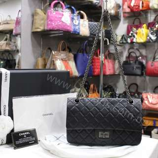 Chanel 2.55 Black Quilted Aged Calfskin Reissue 225 Ruthenium Hardware