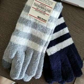 全新MUJI無印良品人造纖維針織螢幕觸碰手套touch screen gloves