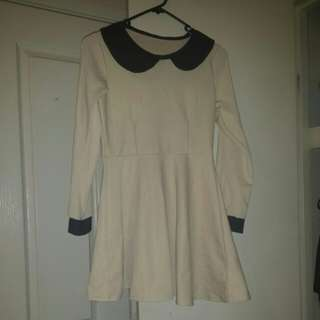 Cute Beige long sleeve short dress