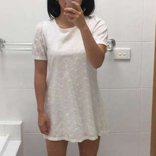 White cotton summer mini dress