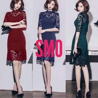 EMBROIDERED LACE COMBINED ELEGANT DRESS