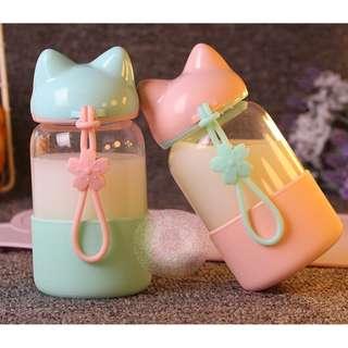 (300ml) Korea Design Cat Ear Glass Drinking Water Bottle