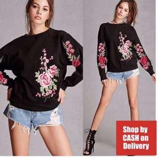 Black floral Embroidered pullover jacket