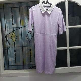 korean lilac shirt dress