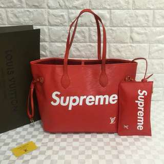 Louis Vuitton Supreme Neverfull Red