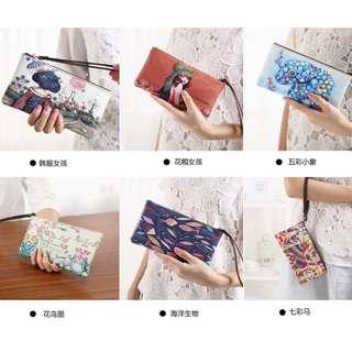 Floral Animal Printing Clutch Bag PU Zipper Wallet Purse Wristlets Bag
