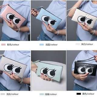 Lovely Big Eyes Clutch Bag PU Zipper Wallet Wristlets Bag