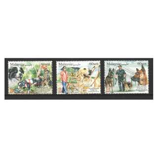 MALAYSIA 2018 ANIMAL WITH VARIOUS SPECIAL ROLES WORKING DOG (YEAR OF DOG) COMP. SET OF 3 STAMPS IN MINT MNH UNUSED CONDITION
