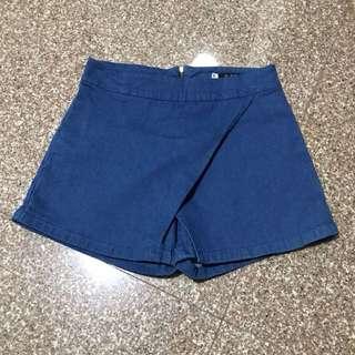 Denim Cross-wrap Shorts