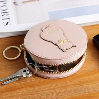 Cat Round Zipper Multi Functional Coin Bag Purse Wallet Bag Key Cases