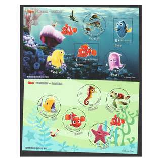 REP. OF CHINA TAIWAN 2008 CARTOON ANIMATION FINDING NEMO 2 SOUVENIR SHEETS OF 5 STAMPS EACH IN MINT MNH UNUSED CONDITION