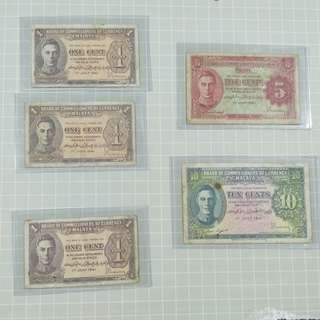 Board of commissioners of currency malaya one, five and ten cents