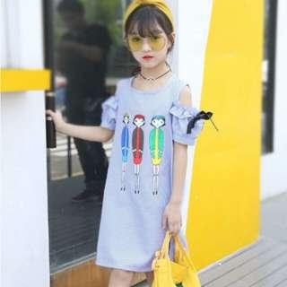 Summer Princess Baby Girls Dresses 2018 O-neck Girls Dresses Sweet Cartoon Pattern Kids Dress for Girls Clothing