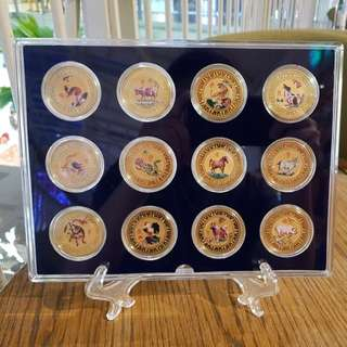 12 zodiac medal coin set