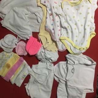 Package of Newborn babies clothes hats mittens, socks and barbie doll mosquito net