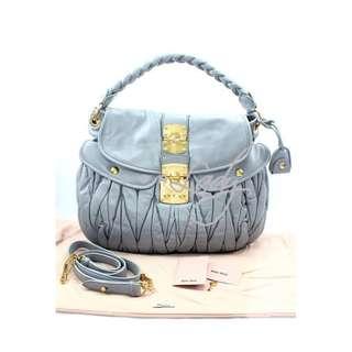 (Sale Promotion) MIU MIU RR1300 經典Coffer 灰色小羊皮 手提袋 肩背袋 手袋