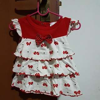 Red and white ribbon dress