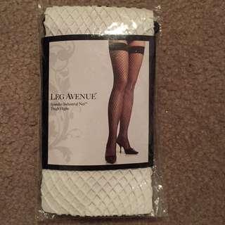White fish net stockings