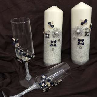 Customized wedding candle and toasing glass