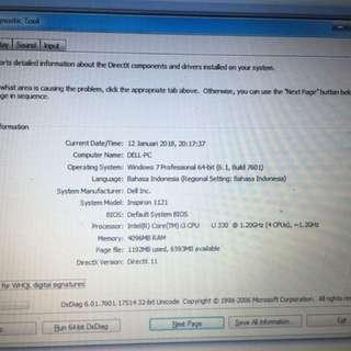Dell inspiron Ram4gb core i3. BU untuk bayar kontrakan