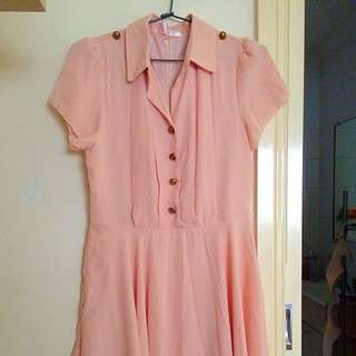 Peach Chiffon Dress M