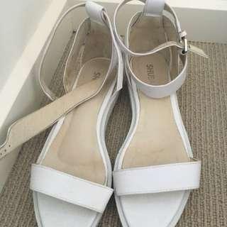 Shubar white sandals. Platform strappy